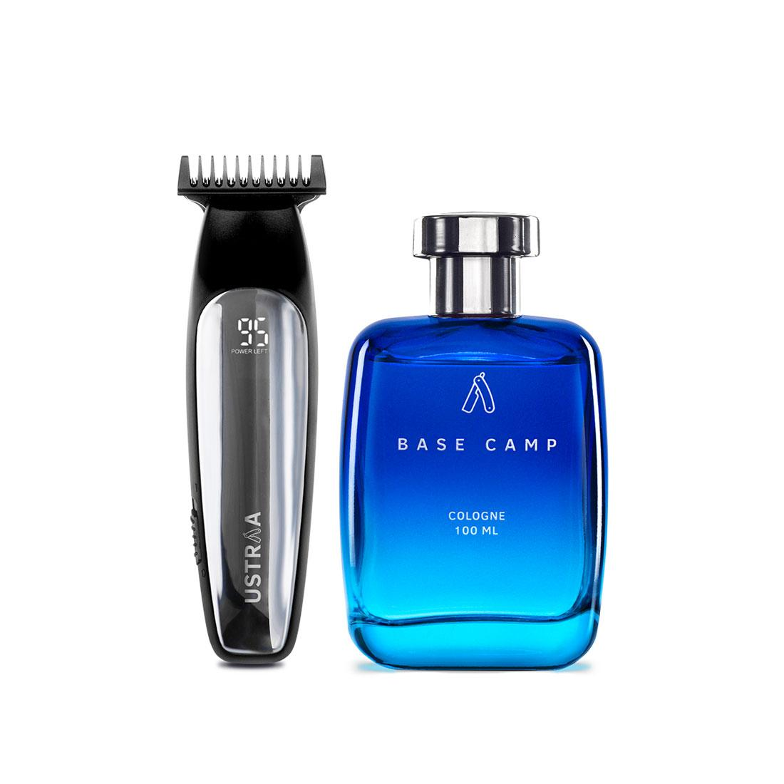 Ustraa Chrome - Lithium Powered Beard Trimmer & Cologne Base Camp