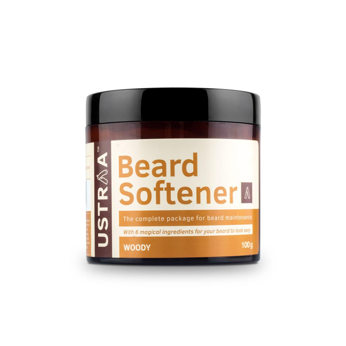 Ustraa Beard Softener Woody with Cedarwood and Argan oil - for a Nourished, Soft and Healthy Beard, 100g