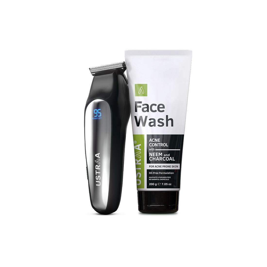 Ustraa Chrome - Lithium Powered Beard Trimmer and Face Wash