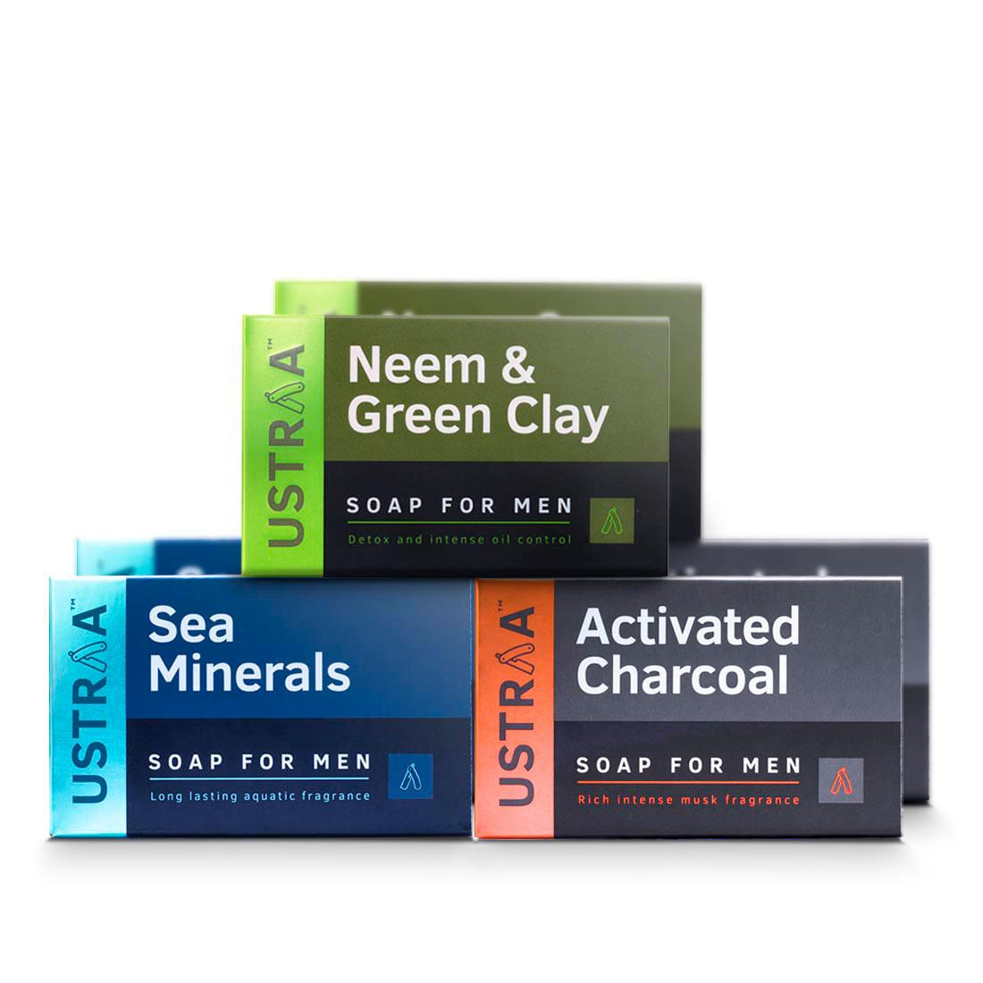 Ustraa Deo-Soap for Men (Pack of 6): With Sea Minerals, Activated Charcoal, Neem & Green Clay