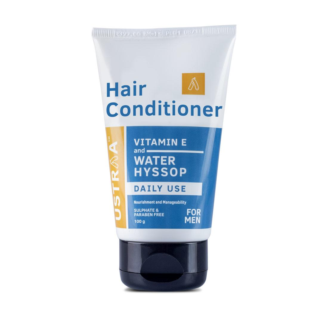 Ustraa Daily Use Hair Conditioner 100g - Hair Conditioner for men with Water Hyssop and Brahmi for strong follicles and split ends