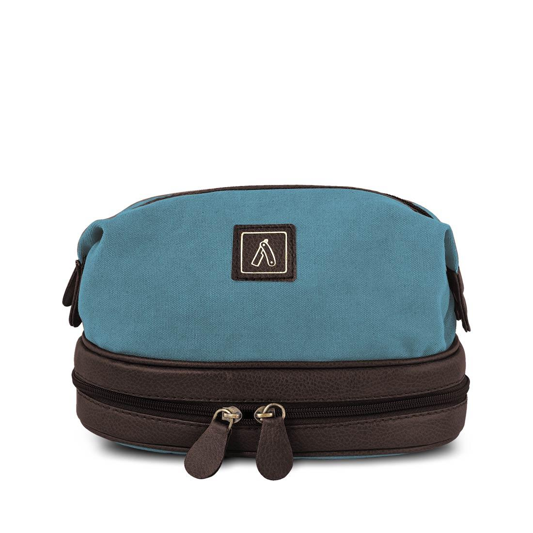 Ustraa Travel Kit - Blue - with Extendable Buttons, Easy Pull Tabs on Zippers and a Wet Compartment, Grooming Essential for Men