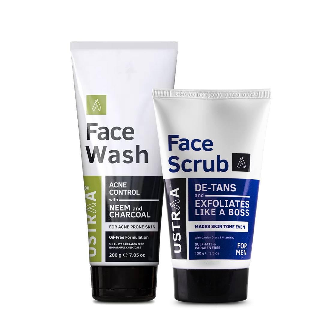 Face Wash Acne Control and Face Scrub De-Tan