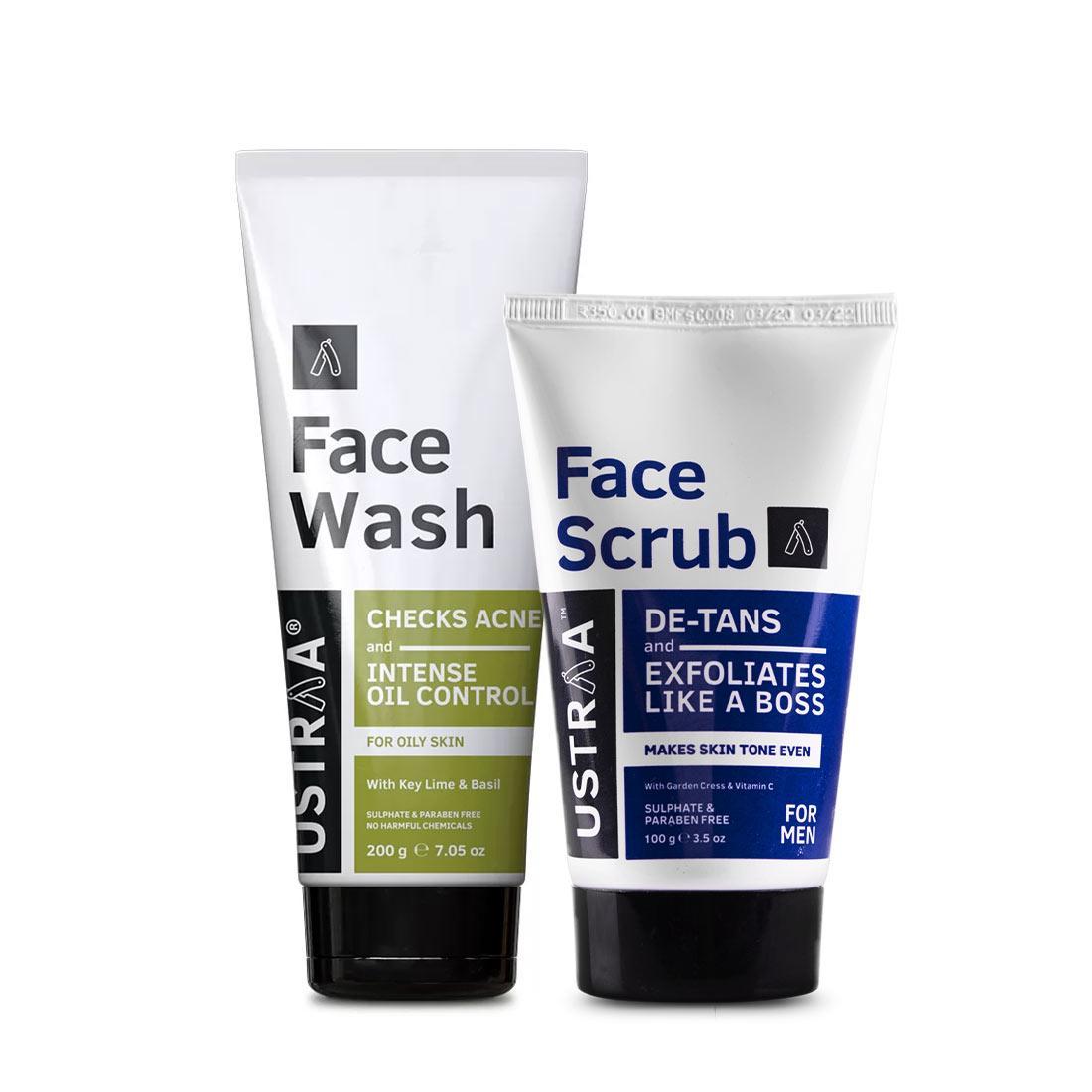 face scrub, facescrubs, facewash, facewashes, Ustraa Face Wash and Face Scrub Combo for Men: Get Deep Cleansing, De-Tanning and Exfoliation
